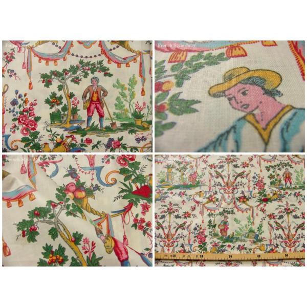 Tissu coupon au m tre toile de jouy vincennes multicouleur ebay - Toile a peindre au metre ...