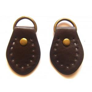 paire de boucles cuir synthétique pour anse de sac 35mmx50mm (chocolat)