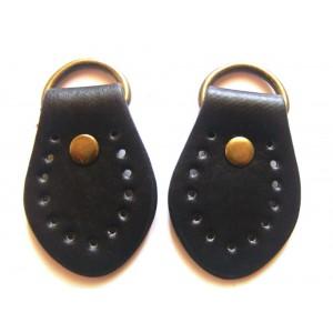 paire de boucles cuir synthétique pour anse de sac 35mmx50mm (noir)