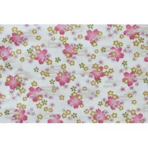 coupon tissu Japonais 55x49cm petite sakura fleur doré ivoire 103 [HOSHIZAKURA]