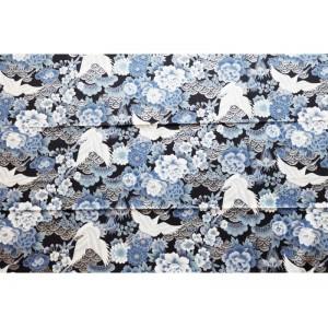 coupon tissu Japonais 55x49cm grue pin fleur argenté bleu noir 104 [SEIGAIHA]