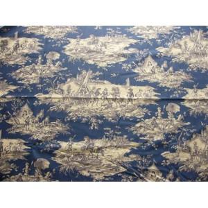 tissu au mètre : Toile de Jouy HISTOIRE D'EAU MARINE FD BLEU