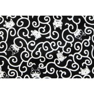 coupon tissu Japonais 55x49cm chat arabesque noir 105 [KARAKUSA NEKO]