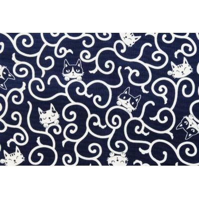 coupon tissu Japonais 55x49cm chat arabesque bleu encre 106 [KARAKUSA NEKO]