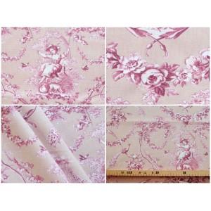 coupon tissu Toile de Jouy LUDIVINE FOND ROSE POUDRE