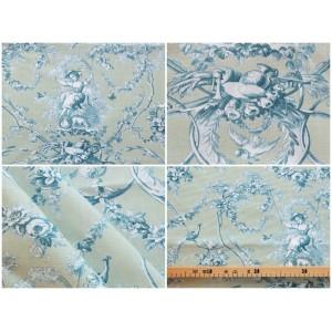 coupon tissu Toile de Jouy LUDIVINE FOND VERT D'EAU