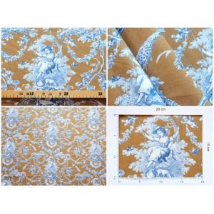 coupon tissu Toile de Jouy LUDIVINE BLEU FOND CAMEL