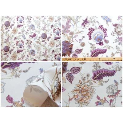 coupon tissu Ceylan coton violet fond crème