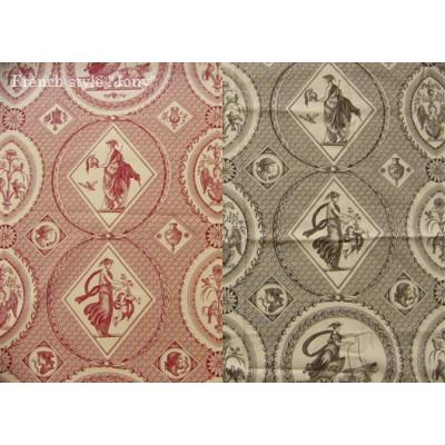 SC1 : Tissu 150L Toile de Jouy SCENES ANTIQUES (2 couleurs au choix)