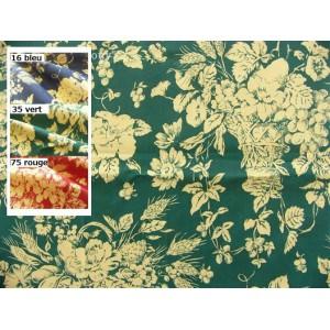 SC1 : Tissu 150L Toile de Jouy PANIER FLEURI (3 couleurs au choix)