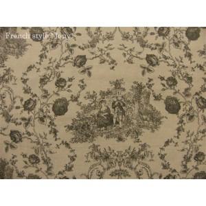 tissu coupon / par 50cm : toile de Jouy PRINCESSE chambray brun