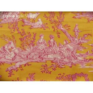 SC2 : Tissu 150L Delices des 4 saisons (toile, rose fond jaune) par 50cm