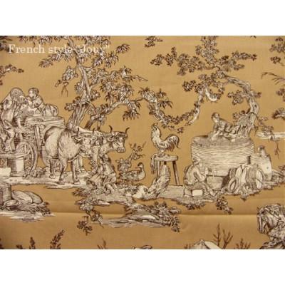 SC2 : Tissu 150L Delices des 4 saisons (toile, marron fond beige) par 50cm