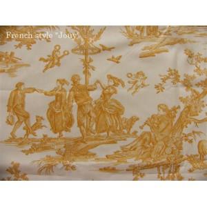 SC2 : Tissu 150L Delices des 4 saisons (toile, jaune fond crème) par 50cm