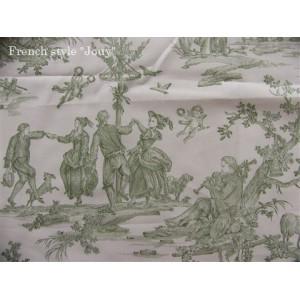SC2 : Tissu 150L Delices des 4 saisons (toile, vert fond crème) par 50cm