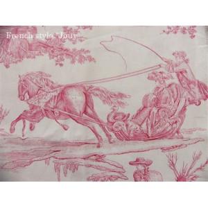 SC2 : Tissu 150L Delices des 4 saisons (toile, rose fond crème) par 50cm