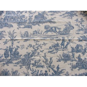 SC2 : Tissu 150L Delices des 4 saisons (toile, bleu fond crème) par 50cm