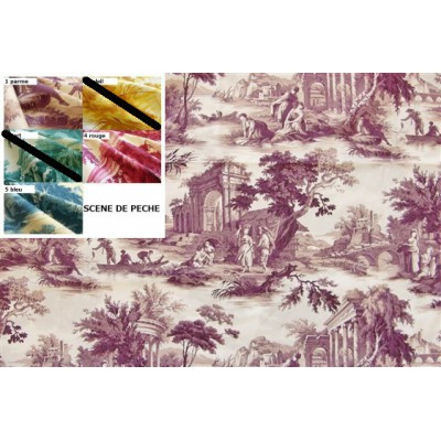 SC1 : Tissu 150L Toile de Jouy SCENES DE PECHE (5 couleurs au choix)