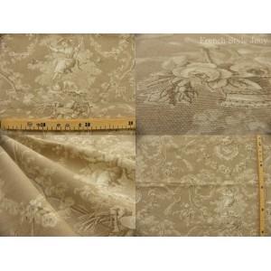 tissu coupon / au mètre : Toile de Jouy LUDIVINE FOND NATUREL