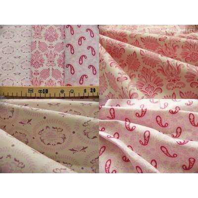 lot de 3 coupons de tissu TILDA 25x35 cachemires et ornements roses