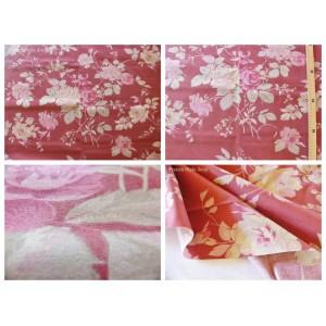 tissu coupon / par 50cm : FLEUR MANON rose fond rouge