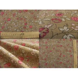 tissu coupon / par 50cm : ANGELE rouge fond taupe
