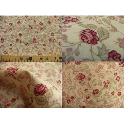 tissu coupon / par 50cm : ANGELE rouge fond ivoire
