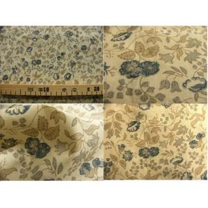 tissu coupon / par 50cm : ANGELE bleu fond ivoire