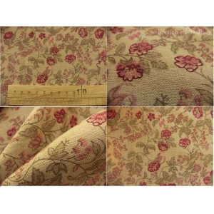 tissu coupon / par 50cm : ANGELE chambray rouge