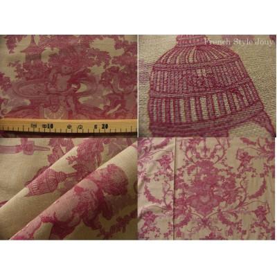 tissu coupon / par 50cm : toile de Jouy CHERUBIN chambray rouge