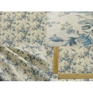 tissu coupon / par 50cm : MARION bleu fond ivoire