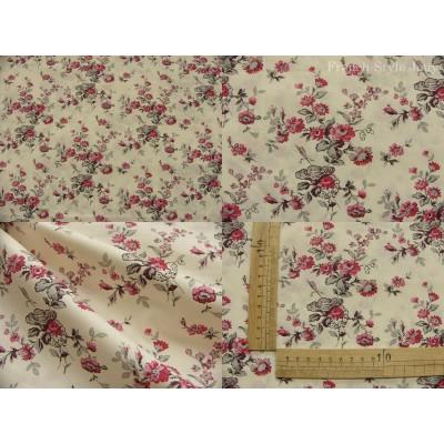 tissu coupon / par 50cm : MARION rouge fond ivoire