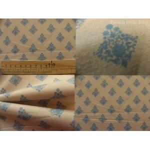 tissu coupon / par 50cm : RATNA bleu fond beige
