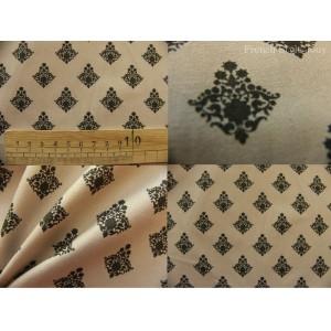 tissu coupon / par 50cm : RATNA gris fond beige