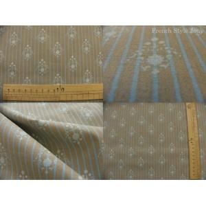tissu coupon / par 50cm : RATNA rayure bleu fond gris