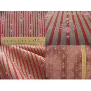 tissu coupon / par 50cm : RATNA rayure rouge fond gris