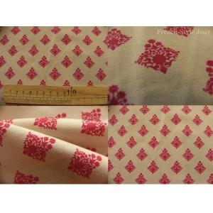 tissu coupon / par 50cm : RATNA rouge fond beige