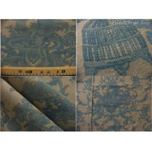 tissu coupon / par 50cm : toile de Jouy CHERUBIN chambray bleu