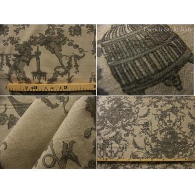 tissu coupon / par 50cm : toile de Jouy CHERUBIN chambray brun