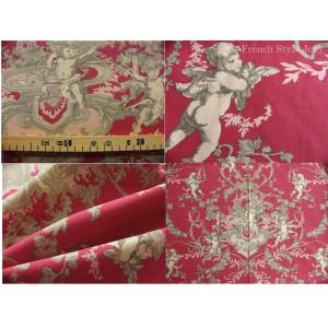 tissu coupon / par 50cm : toile de Jouy CHERUBIN fond rouge