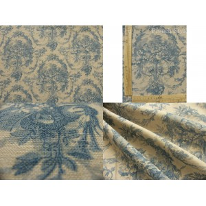 tissu coupon / par 50cm : toile de Jouy MELANIE chambray bleu
