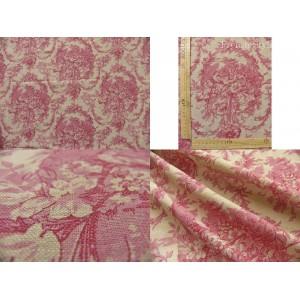 tissu coupon / par 50cm : toile de Jouy MELANIE chambray rouge