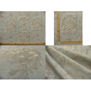 tissu coupon / par 50cm : toile de Jouy MELANIE gris fond bleu