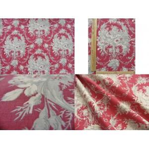 tissu coupon / par 50cm : toile de Jouy MELANIE gris fond rouge