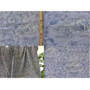 tissu coupon / par 50cm : toile de Jouy PRINCESSE bleu fond bleu