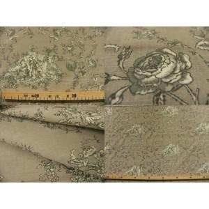 tissu coupon / par 50cm : toile de Jouy PRINCESSE brun fond beige