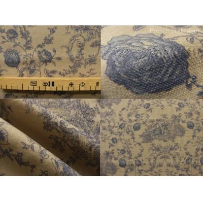 tissu coupon / par 50cm : toile de Jouy PRINCESSE chambray bleu