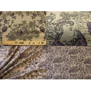 tissu coupon / par 50cm : toile de Jouy PRINCESSE chambray brun-violet
