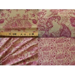tissu coupon / par 50cm : toile de Jouy PRINCESSE chambray rouge