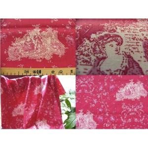 tissu coupon / par 50cm : toile de Jouy PRINCESSE rose fond rouge